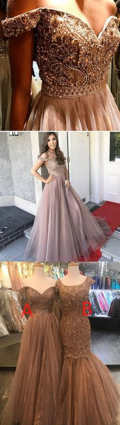 Cap Sleeves Sparkly V Back A-line Formal Long Beaded Prom Dresses, Elegant New Ball Gown, PD0577 #prom abridal#promdresses#prom#shopping on#shopp