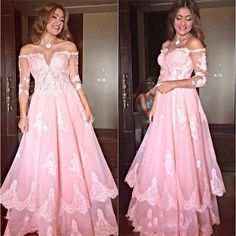 Find More Prom Dresses Information about Elegant Half Sleeves Prom Gowns  Boat Neck Floor Length Appliques 9880ba35c762