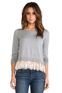 Alice by Temperley Odille Frill Jumper em Grey Mix