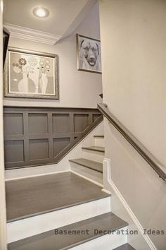 Basement decor Super Basement Stairs Painted Wainscoting Ideas Lawn Mower Blades As The Hard Basement Stairs, Basement Bedrooms, Basement Flooring, Grey Flooring, Basement Ideas, Flooring Ideas, Modern Basement, Basement Ceilings, Walkout Basement