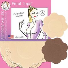 """Supportables - Disposable Nipple Covers - 3 Pair. Supportable nipple covers are made from a knitted fabric that stretches and conforms to the breast shape so there are no wrinkles or tell tale edges to show through clothing. 3 Pair - Disposable... Choose Beige or Cocoa. Size: 2 1/2"""" Diameter. Material: 100% Polyester Acrylic Adhesive."""