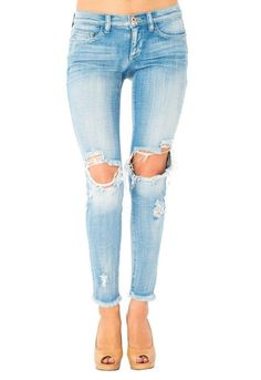 b3e488ff507818 Sneak Peek Destructed Low Rise Skinny with Unfinished Hem Friends In Low  Places, Light Denim