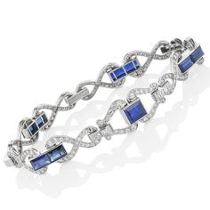 Original sapphire, diamond and platinum Art Deco bracelet by Birks. View our collection of sapphire jewellery at www.rutherford.com.au