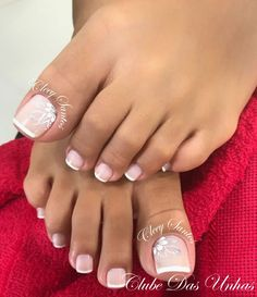 Galeria com Várias Fotos de Unhas Desenhadas Pretty Toe Nails, Cute Toe Nails, Gel Nails, Toe Nail Color, Toe Nail Art, Nail Colors, Wedding Toe Nails, Wedding Toes, French Toe Nails