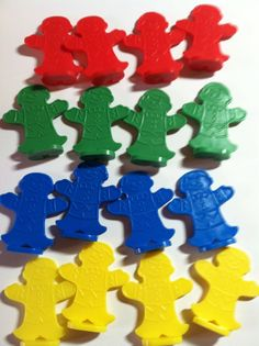 16 Game Pieces of each color) Red, Yellow, Green, and Blue. These pieces are all from different games and may vary from each other slightly. Candyland Games, Daddy Daughter Dance, Childhood Games, Got Game, Different Games, Game Pieces, Game Room, Board Games, Rain