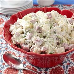 "Dublin Potato Salad Recipe -You may never go back to ""plain"" potato salad once you've tried this recipe—I haven't! Dublin Potato Salad goes great with lots of different main dishes, but it's also hearty enough to be a meal in itself. When there's time, I prepare it ahead and let the flavors blend. —Kathy Scott, Lingle, Wyoming"