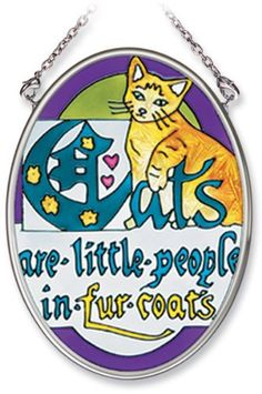 Amia Hand Painted Glass Suncatcher with Cats Are Little People In Fur Coats Design, 3-1/4-Inch by 4-1/4-Inch Oval by Amia. $14.85. Comes boxed, makes for a great gift. Handpainted glass. Includes chain. Amia glass is a top selling line of handpainted glass decor. Known for tying in rich colors and excellent designs, Amia has a full line of handpainted glass pieces to satisfy your decor needs. Items in the line range from suncatchers, window decor panels, vases, votives a...