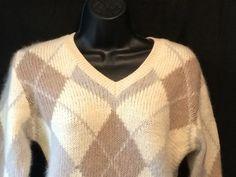 Neiman-Marcus Angora Wool Sweater Womens Argyle Gray Tan Ivory Medium V-Neck #NeimanMarcus #VNeck