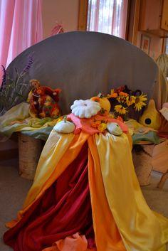 Michaelmas Nature Table in Waldorf Kindergarten Waldorf Kindergarten, Nature Table, Autumn Nature, Red Silk, Decoration, Bean Bag Chair, Seasons, Teaching, Celebrities