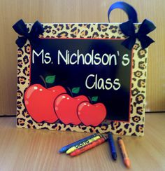 #personalised #teacher christmas gift red apples in leopard print classroom decor sign by kasefazem, $15.99