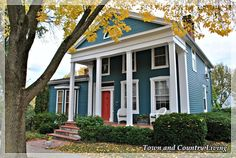 A Walking Tour of Historic Galena - Town & Country Living Town And Country, Country Living, White Wicker Chair, Green Shutters, Double Front Doors, Victorian Cottage, White Houses, Autumn Home, Decorating Blogs