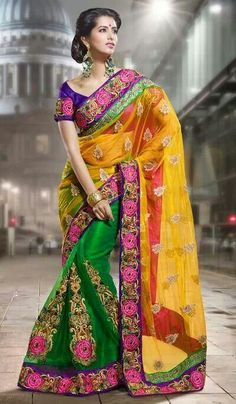 Buy Beautiful Orange And Green Net Half And Half Saree Online Latest Indian Saree, Indian Silk Sarees, Indian Sarees Online, Indian Dresses, Indian Outfits, Indian Clothes, Beautiful Saree, Beautiful Dresses, Indie Mode