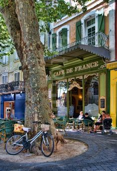 Street scene in Provence, France French Street, French Cafe, French Bistro, Provence France, Paris France, Nimes France, Juan Les Pins, Enchanted Home, Paris Ville