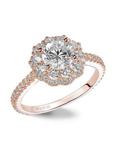 Wedding Rings With Engraved Flower Shaped Diamond Wedding Ring
