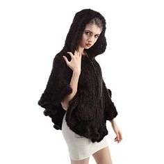 Bosewin Mink Fur Shawl Knitted Real Mink Fur Stole Hooded Mink Poncho (Coffee) >>> More info could be found at the image url.