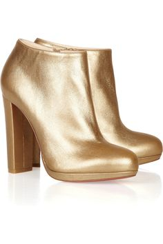 Christian Louboutin | Rock & Gold 120 metallic leather ankle boots_$1095_ | NET-A-PORTER.COM #Metallics