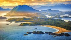 Aerial shot of Tofino with Clayoquot Sound