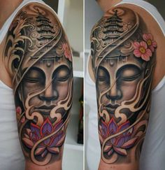 Many people often put Buddhist Tattoo Designs without understanding their meanings. Here are the 21 best Buddhist Tattoo Designs with their meanings: Half Sleeve Tattoos For Guys, Half Sleeve Tattoos Designs, Full Sleeve Tattoos, Tattoo Designs Men, Tattoo Sleeves, Buddah Sleeve Tattoo, Buddha Tattoos, Buddha Tattoo Design, Japanese Tattoos For Men