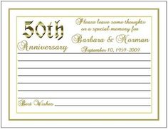 50 th anniversary memory card | 50th Anniversary Wish Advice Memory Cards Personalized Party Favors ...