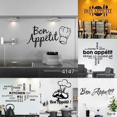Bon Appetit Food Wall Stickers Kitchen Room Decoration DIY Vinyl Adesivo De Paredes Home Decals Art Posters Wall Papers Living Room Kitchen, Home Decor Kitchen, Kitchen Design, Bon Appetit, English Living Rooms, Bistro Kitchen, Kitchen Wall Stickers, Butterfly Wall Stickers, Kitchen On A Budget