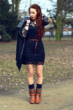 Black lace dress with brown boots