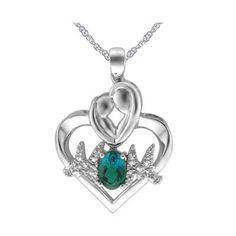 Oval Lab-Created Emerald and Diamond Accent Motherly Love Heart Pendant in Sterling Silver