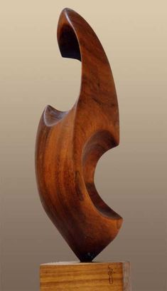 Nutwood Modern Abstract Contemporary Avant Garde Sculptures or Statues or statuettes or statuary sculpture by sculptor Badri Goguadze titled: 'Nun (Carved Wood abstract Nun sculpture or statues)'