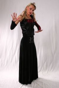 Gothic Skirt~Velvet Laced Gothic Hippie Full Length Skirt~By Folio Gothic Hippy & Bares@92-3031