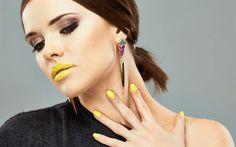 Beautiful girl, model, yellow makeup, yellow lipstick