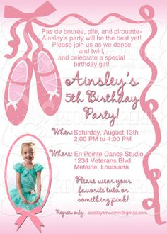 Ballet slippers dance birthday party invitation
