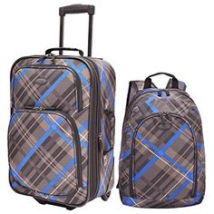 Traverlers Choice US Traveler Contrast Plaid 2Piece Luggage Set Blue One Size >>> Check this awesome product by going to the link at the image.