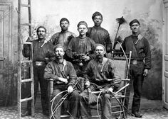 Chimney Sweeps -  group photo. Continental Europe.