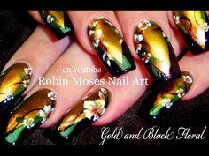 Black and Gold Flower Nail Art Design | Designer Floral Nails Tutorial - YouTube