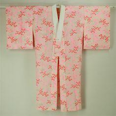 White and pink, nagajuban / 普段使いに 白地 ピンクの流水に小花柄 メリンス地長襦袢