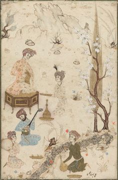 Hamza Mirza Entertained Persian, Safavid Period, second half, 16th century