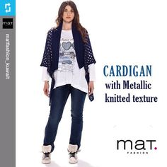#Repost from @matfashion_kuwait • Cardigans with metallic knitted texture.