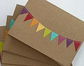 Thank You Cards Stationery with Bunting Flag in Rainbow. $5.99, via Etsy.