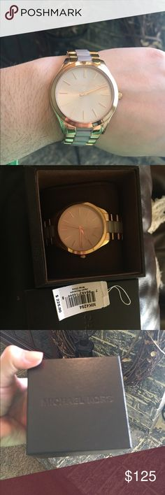 SOLD Michael Kors watch Rose gold MK watch. With blush toned acetate links. Box included as well as all links. In great condition. Paid 225 plus ship & taxes. Will consider REASONABLE offers Michael Kors Accessories Watches