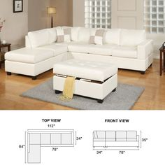 White Luxury Leather Sectional Sofa 3 PC Modern Living Room Furniture W/  Ottoman