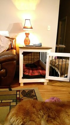 Dog Crate with a twist. Pallet Dog House, Build A Dog House, Dog House Plans, Wood Dog Crate, Diy Dog Crate, Guitar Display Case, Building A Dog Kennel, Diy Dog Bed, White Dogs