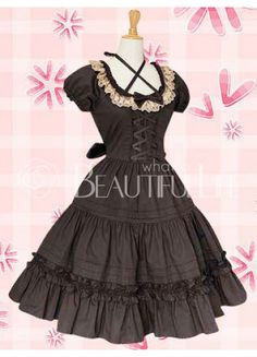Classic Cotton Scoop Empire Lace Bow Knee-length Lolita Dress With Ruffles