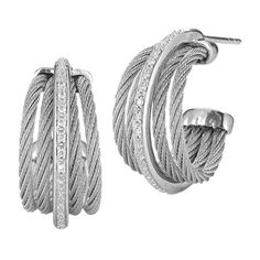 Chariol Celtic Classique Diamond Hoop Earrings (303.795 HUF) ❤ liked on Polyvore featuring jewelry, earrings, multicolor, diamond earrings, charriol earrings, celtic earrings, diamond jewelry and 18 karat gold earrings