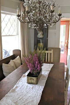 Heather on the dining room table for spring...