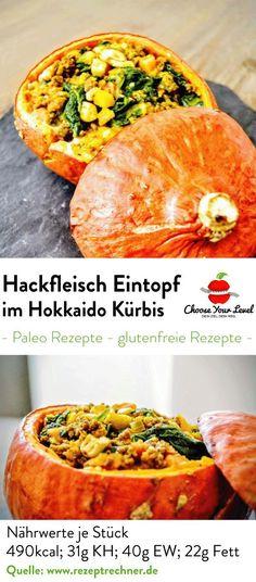 Hackfleisch Eintopf im Hokkaido Kürbis Choose Your Level™ Cooking Pumpkin, Pumpkin Recipes, Paleo Vegetables, Bbq Bacon, Paleo Dinner, Convenience Food, Lunches And Dinners, Eating Habits, Vegetable Pizza