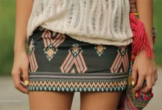 tribal printed skirt-with boots and wooly tights i love the look.