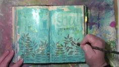 Splattering Color Bloom Spray Ink in an art journal page