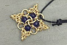 Beaded Quatrefoil Chainmail Pendant