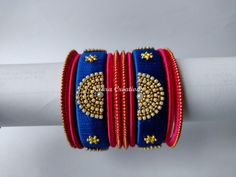 Excited to share the latest addition to my shop: Silk thread Party wear Bangles * Set of 10 Bangles * Navy Blue and Pink color Silk Thread Earrings Designs, Silk Thread Bangles Design, Silk Bangles, Bridal Bangles, Thread Jewellery, Beaded Jewelry Patterns, Bangles Making, Bangle Set, Acrylic Rangoli