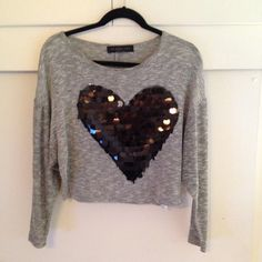 Grey heart shirt Only worn twice. Grey shirt with black sequins creating a sparkling heart :) Sweaters
