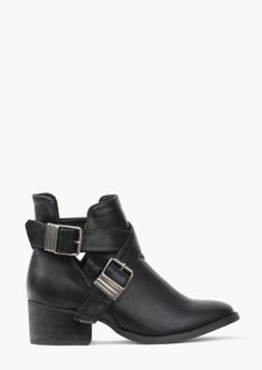 Broncho Bootie | Adorable black vegan leather cut out booties for $39